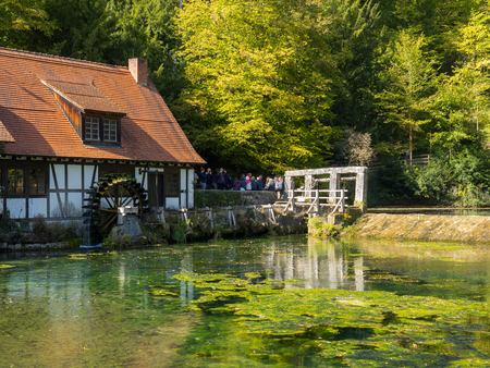 Historic mill at the well Blautopf in Blaubeuren, Germany