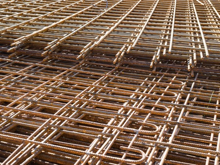 Layers of rebar steel outddoor on building site Imagens