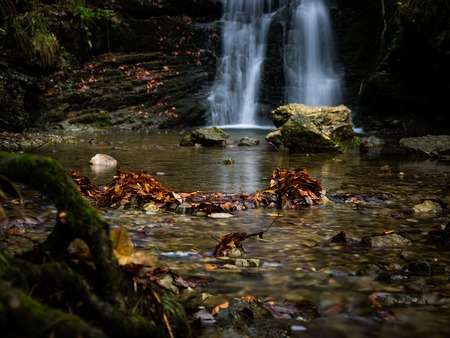 Autumnal scene with waterfall in the ravine Wildtobel with focus on the fallen leafs in the river