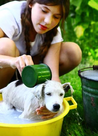 Het meisje was wit puppy in het bassin close up zomer buiten foto Stockfoto - 65537249