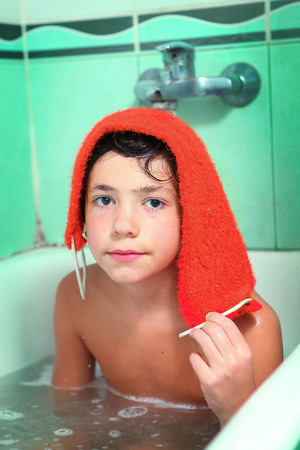 preteen boy: handsome preteen boy take soap bath