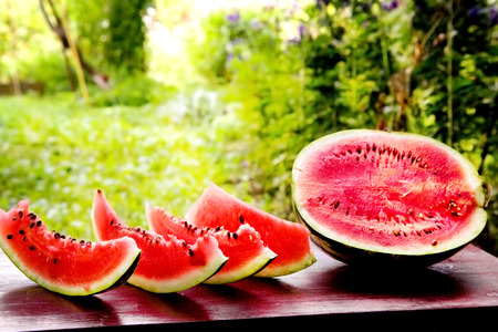 red sliced water melon on the sunny garden background