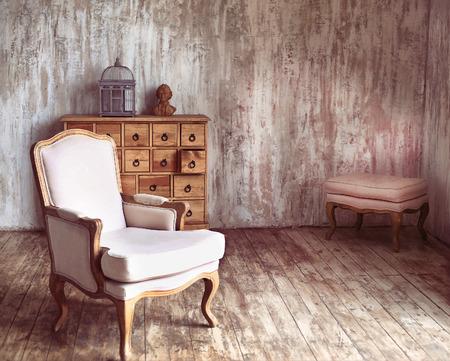 stile: cassettiera in legno in stile shabby stanza con gabbia per uccelli e Mozart busto