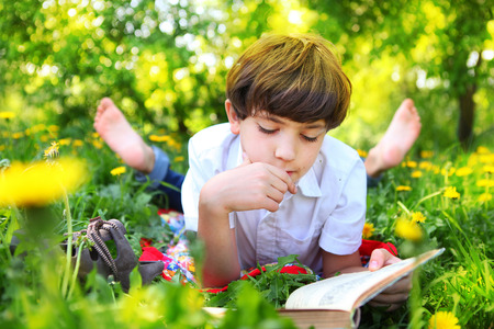 preteen handsome keen boy red and old book in the summer park with dandelion flowers Archivio Fotografico