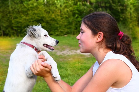 country girls: teenager girl play with white puppy on the summer forest background