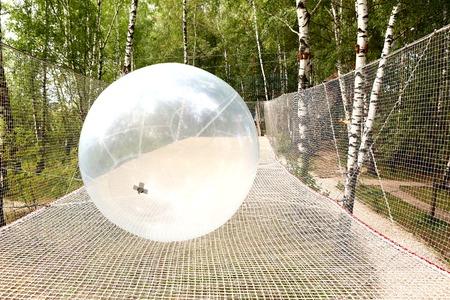 big ball: transparent big ball and net in sport entertainment summer outdoor amusement park