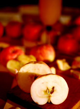 cider: fresh cuted  apples prepare for cider making