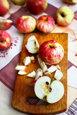 cutted: fresh   autumn apples cutted on the table Stock Photo
