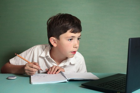 prodigy: preteen  handsome boy has online drawing lesson