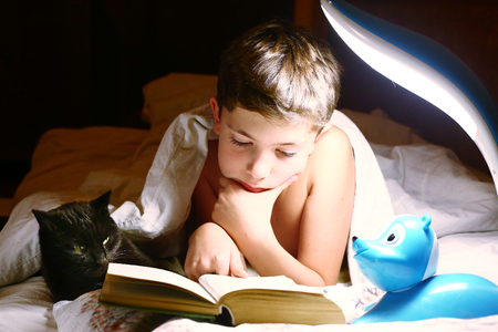 preteen handsome boy read book with cat before sleeping