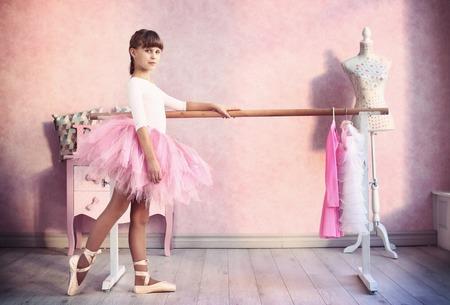 teen little  girl prepare for classical dance lesson Stock Photo
