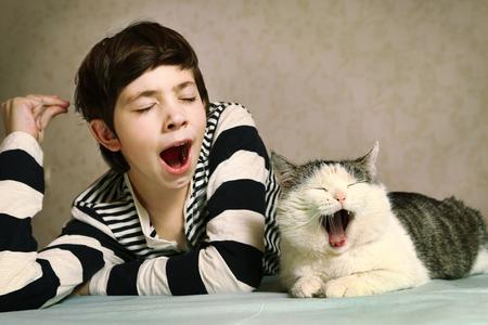 agotado: adolescente chico guapo en la blusa de rayas y el gato siberiano cerca retrato bostezar sincronizado junto
