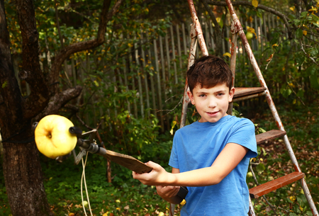 pluck: happy preteen boy pluck apples from the tree with long stick device on the summer garden background Stock Photo