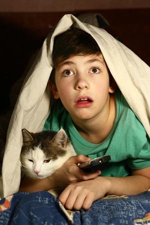 preteen knappe jongen met kat, vermaakt zich om horrorfilmfilms te zien die onder de deken liggen