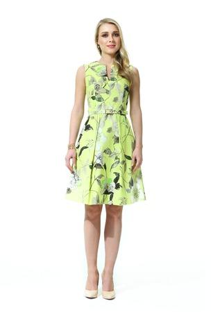 donna bionda con stile di capelli lisci in estate stampato scarpe tacco alto vestito andando tutta la lunghezza del corpo isolato su bianco