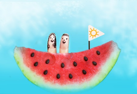 water melon boat with finger kids on board happy summer sea picture