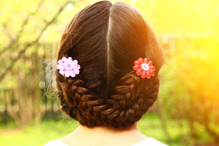 head back: girl head back view with plait and hair clips on the summer green background teen pretty girl with long dark hair on the country background Stock Photo