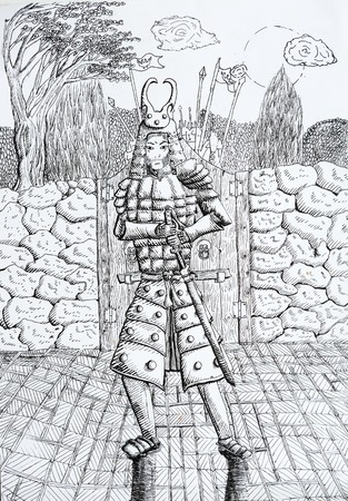samurai drawing with wall gate moon trees on background made by thin black markers