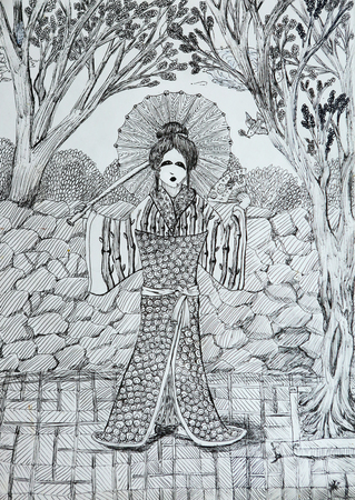 japanese garden: geisha with fan in the japanese garden drawing with thin black liner lines Stock Photo