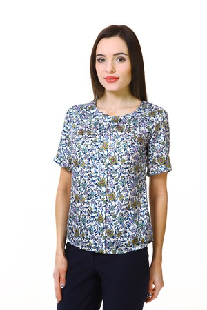 indian business woman with straight hair style in summer short sleeve printed blouse close up portrait isolated on white