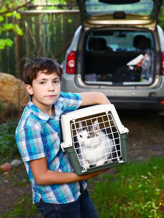 Land preteen jongen met kat in carrier gaat reizen met de auto Stockfoto - 65553909