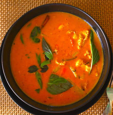 karri: red curry asian thai soup with chicken greens and vegetables close up photo