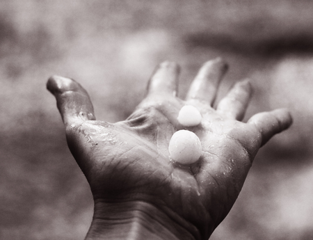 hail lay on the human palm black and white phto Stock Photo