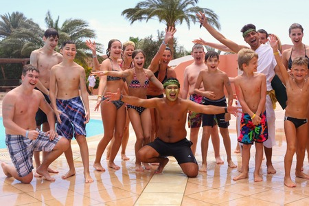 facilitator: Egypt, Hurghada, March 31, 2015: Animation team perform Games water polo in egyptian water park hotel beach resort, March 31, 2015. Editorial