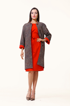 streight: slavic business executive woman with streight hair style in casual coat and red dress full body photo high-heeled shoes isolated on white