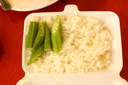 chinese food container: asian fast food take away rice and beans