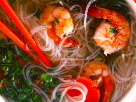 vietnamese asian soup with shrimps and noodle