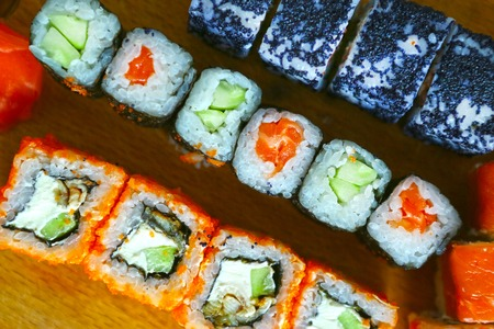susi: sushi california phyladelphia rolls with cavia close up photo Stock Photo