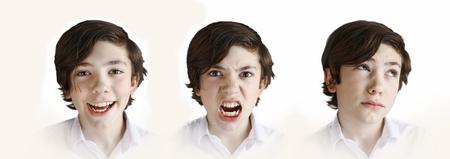 retratos de emoción de chico preadolescente - risa, rabia y pensamiento de duda Foto de archivo