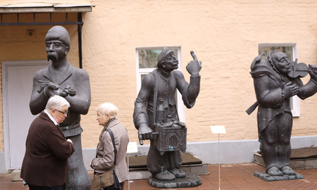 old items: Moscow, Russia, May 23, 2017: Unidentified visitors on sculpture open air museum exhibition of georgian sculptor - Zurab Zhereteli in Moscow, May 23, 2017.