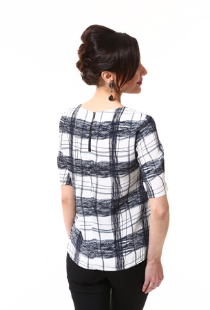 fashion indian business woman in formal checked blouse and updo hair style close up photo back view isolated on white