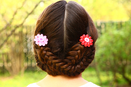 girl head back view with plait and hair clips on the summer green background teen pretty girl with long dark hair on the country background Stockfoto