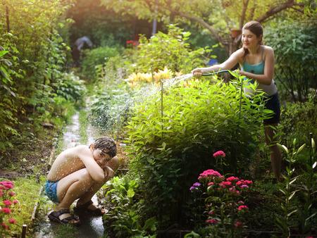 hot temper: Adolescente, hermanos, hermano, hermana, rociar, otro, agua, manguera, verano, jardín, flores