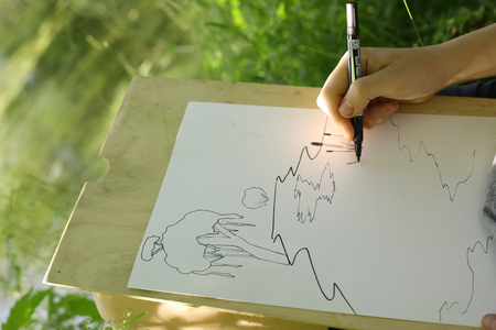 hand make draft sketch of pond lake in the forest close up photo Stock Photo