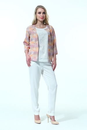 blond woman in summer print jacket  and casual trousers full body high heel shoes isolated on white