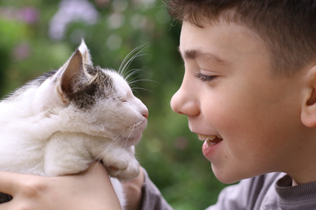 happy boy hold cat smiling close up photo on the summer green garded background Stock fotó