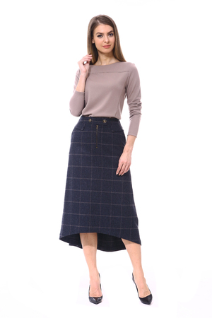 clerk manager business woman in formal woolen long midi skirt and blouse stiletto heels shoes isolated on white full body portrait