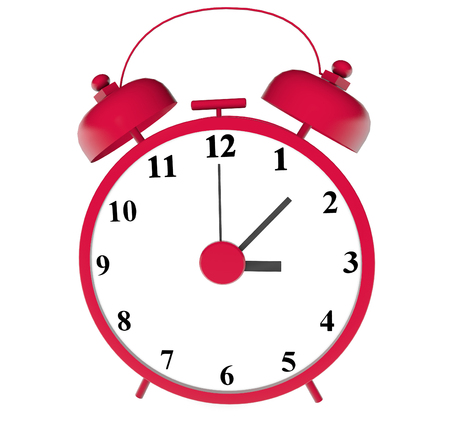 chrome: alarm red alarm clock 3d illustration close up photo on white background isolated