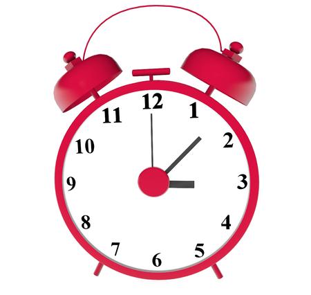 alarm red alarm clock 3d illustration close up photo on white background isolated