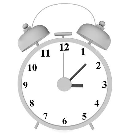 alarm clock 3d illustration close up photo on white background isolated