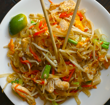 delicious divine thai pad thai with seafood lime and japanese