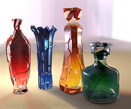 art creative 3d illustration of crystall glass colored vase and jar with cracks