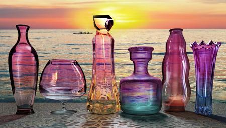 sunset sun setting send last ultraviolet ray on the set of glass jars on the table 3D illustration