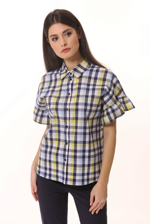 checked summer short sleeve shirt on woman young model close up photo isolated on white