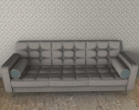 white sofa with blue pattern 3d illustration on parquet floor and vintage wallpaper Stock Photo