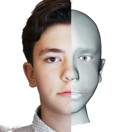 3d human head illustraiton model and half photo teenager boy portrait Banque d'images - 115249810